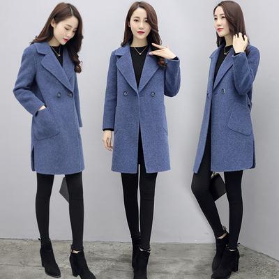 毛呢外套女中长款2018春装新款韩版小个子茧型宽松chic呢子大衣女
